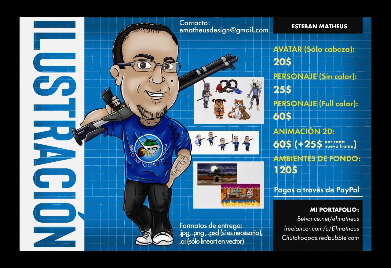 Ilustración Digital 2D estilo caricatura/cómic