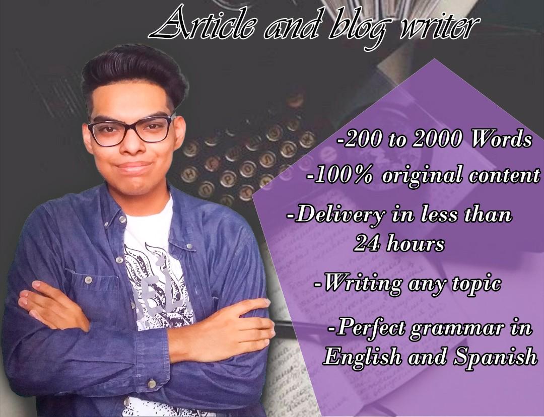 Article and blog writer/Escritor de artículos y blogs